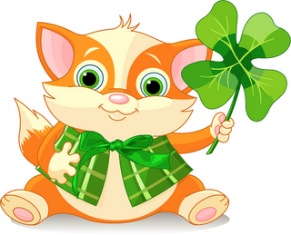 Irish Cat with Shamrock