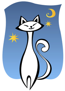 Elegant White Cartoon Cat